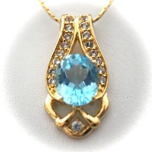 Jewelry - 6.69 CT Blue Topaz & Diamond Designer Necklace